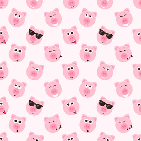 seamless pattern with cute pink pig faces Illustration