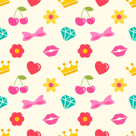 Seamless pattern with stickers for girls.