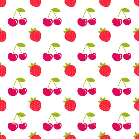 seamless pattern with strawberry and cherry