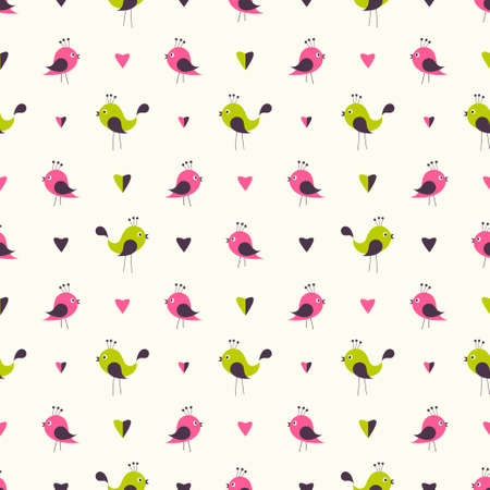 seamless pattern with cute birds and hearts Illustration