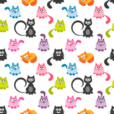 humor: seamless pattern with cute colorful cats and kittens Stock Photo