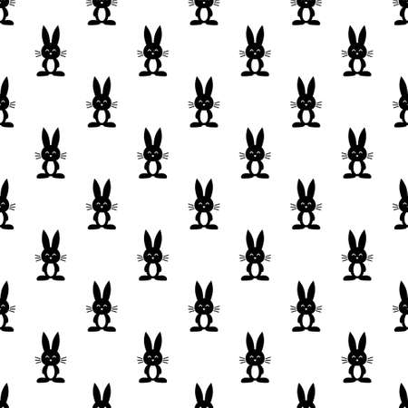 humor: pattern with black rabbits on white background