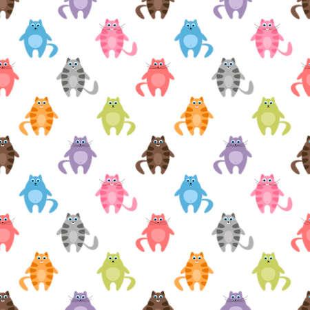かわいいカラフルな猫のシームレス パターン