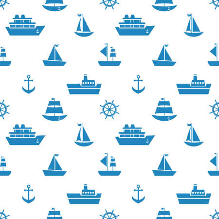 Seamless pattern with blue sea transport icons Illustration