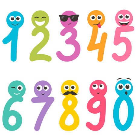Numbers from zero to nine with faces Illustration