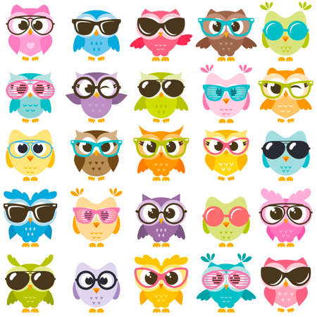 Set of cute colorful owls with glasses on white backdrop. Stock Illustratie