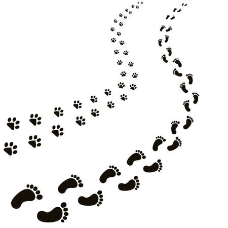 Animal and human footprints illustration.