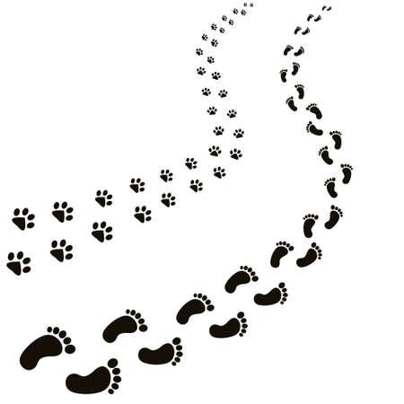 Animal and human footprints illustration.