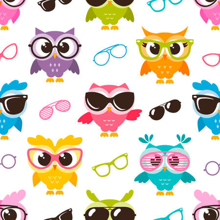kids birthday party: seamless pattern with colorful funny owls with glasses Stock Photo