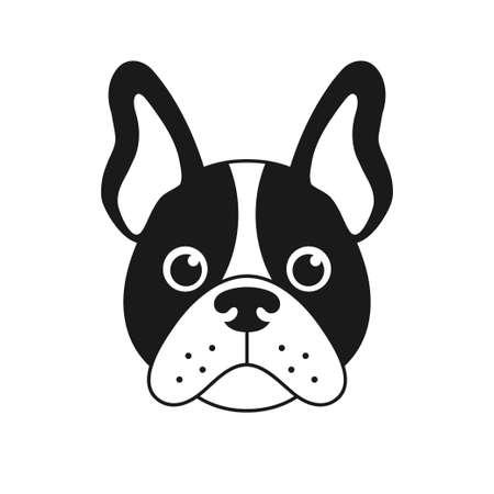 french bulldog face isolated on white background Illustration