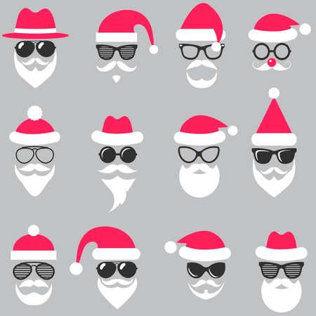 Set of Santa hats, glasses and beards