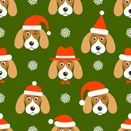 Pattern with dogs with Santa hats