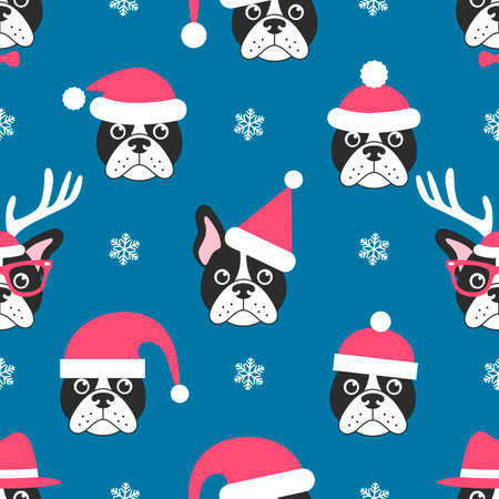 Seamless pattern with French bulldogs with Santa hats