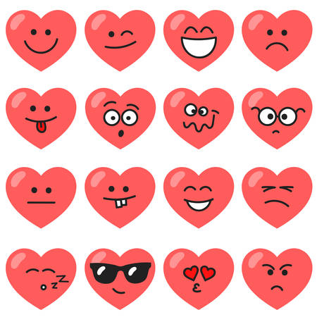 Set of red hearts with different emotions Illustration