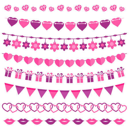 Pink garland set isolated on white