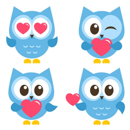 Set of cute blue owls with hearts isolated on white background