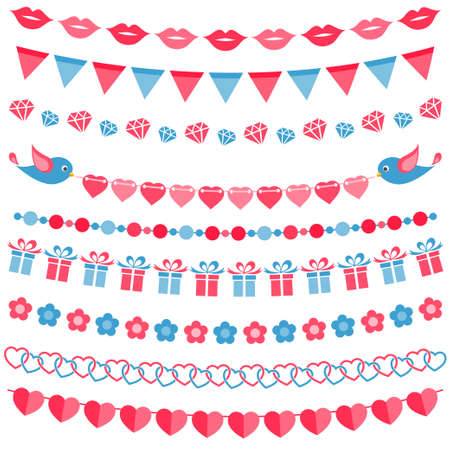 Red and blue garland set isolated on white Illustration