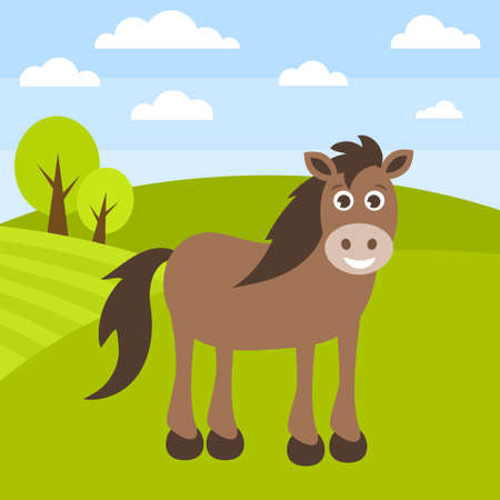 Cute brown horse on the grass field, cartoon illustration. Vectores