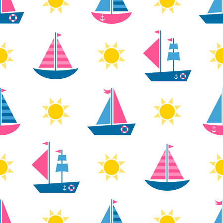 Seamless pattern with cartoon boats and sun