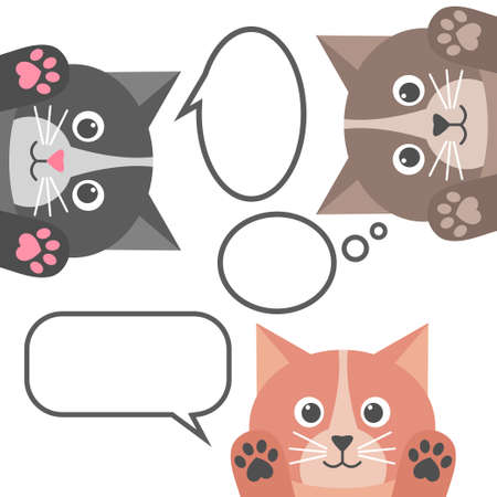 Cute cats and speech bubbles on white background.