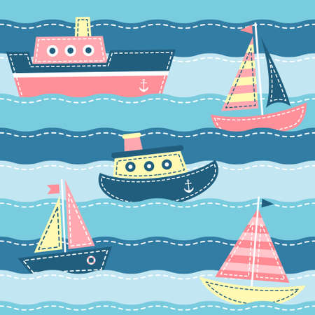 boats on the sea waves illustration