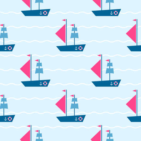 Pattern with boats on the sea.