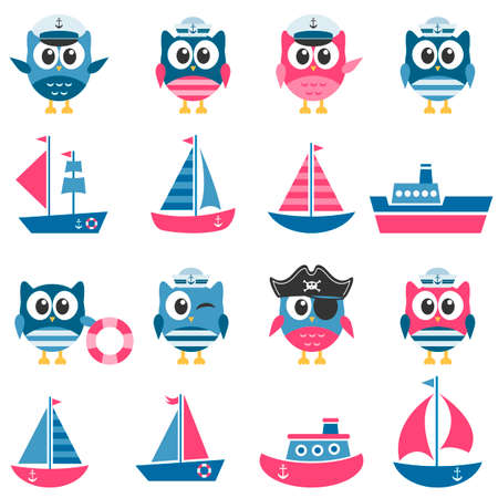 Owls sailors and boats set.