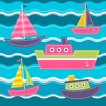 Pattern with blue sea waves, boats and ship Illustration