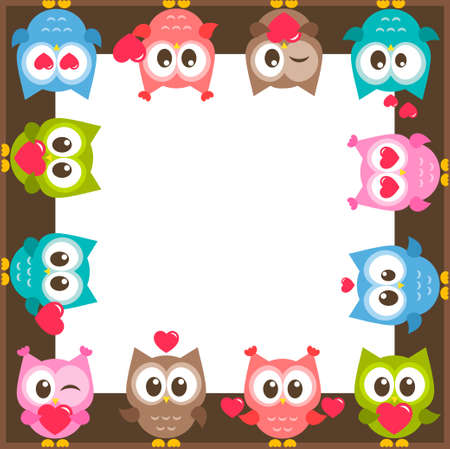 frame with funny colorful owls and hearts
