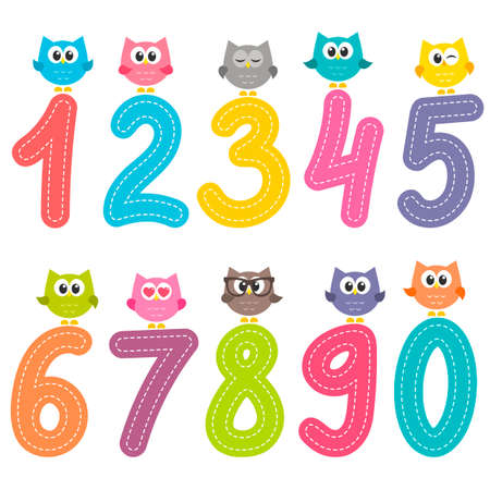 Numbers from zero to nine with cute owls illustration. Standard-Bild - 100628577