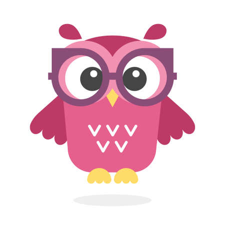 Cute owl with glasses isolated on plain background.