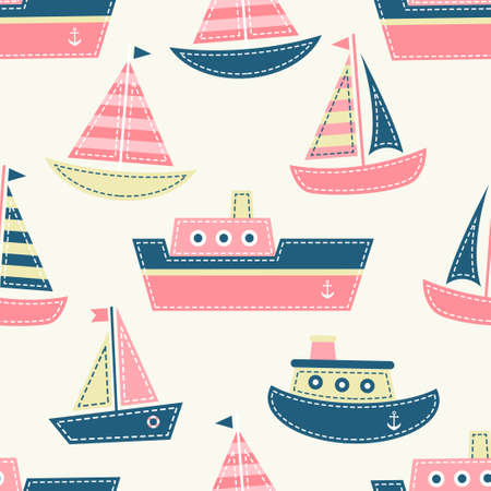 Seamless pattern with boats vector illustration.