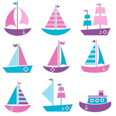 Set of sea transport icons Illustration