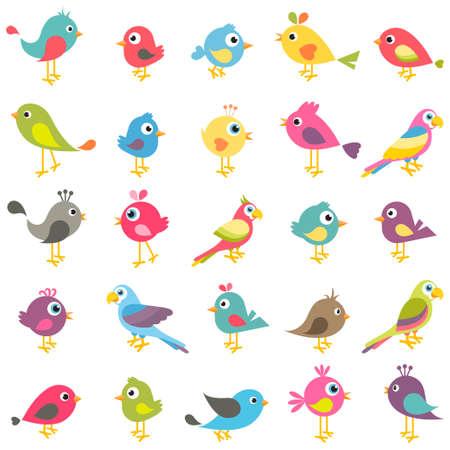 set of cute cartoon birds Illustration