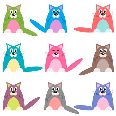 cute colorful cats set