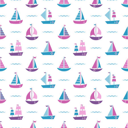 pattern with boats and waves