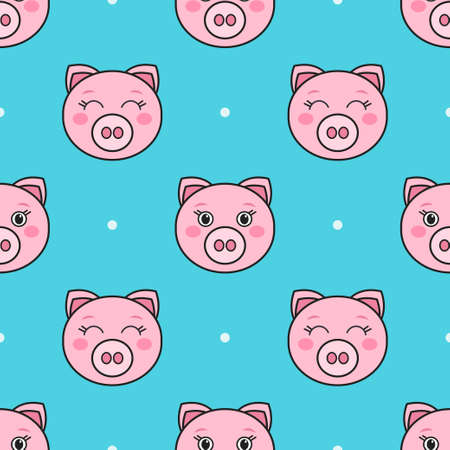 Seamless pattern with cartoon funny pigs