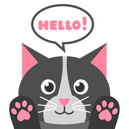 Cute cartoon black cat with speech bubble