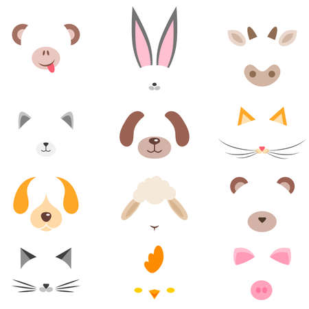 set of cute cartoon animal masks Stock Illustratie