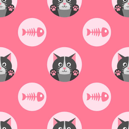 Pattern with cute cat and fish bone