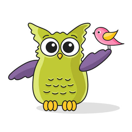Icon of cute green owl with bird