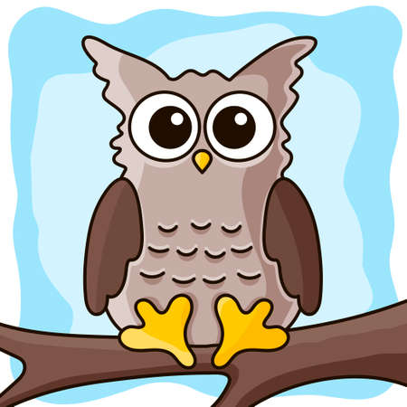 Illustration of cute owl on the tree Stock Illustratie