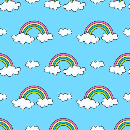 pattern with rainbows and clouds