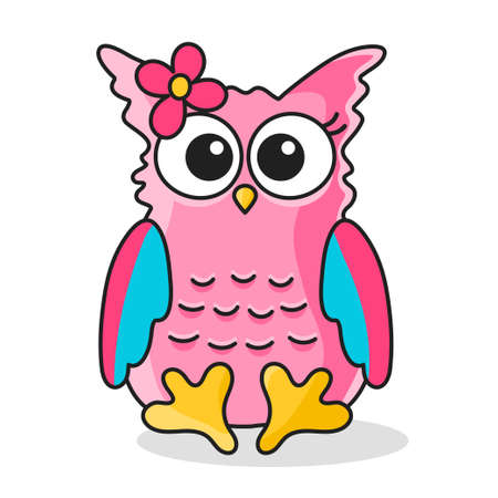 Icon of owl girl with flower