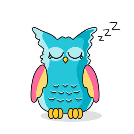 Icon of sleeping owl isolated on white