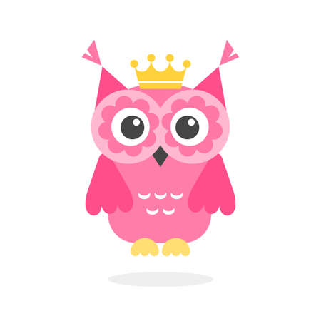 Funny pink owl with crown isolated on white Stockfoto