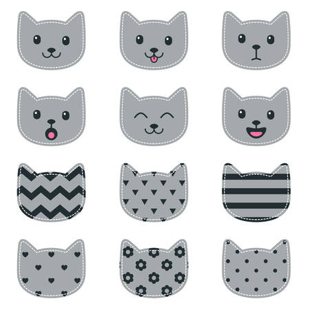 Icons of cat faces isolated on white for scrapbooking  イラスト・ベクター素材
