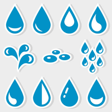 Set of Icons of blue water drops