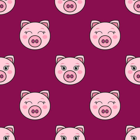 Seamless pattern with the cute pink pigs