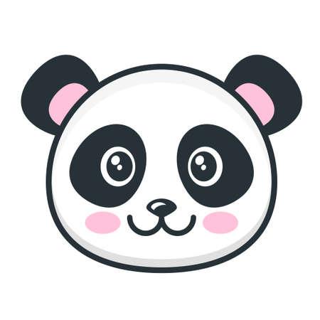 Visage de panda mignon isolé sur blanc Vecteurs